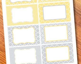 Printable Labels Yellow/Gray