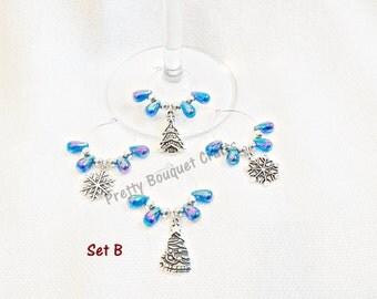 Set of 4 Xmas Theme Wine Glass Charms - Christmas Charms