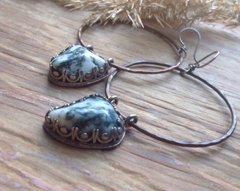 Moss agate, mixed metal hoops