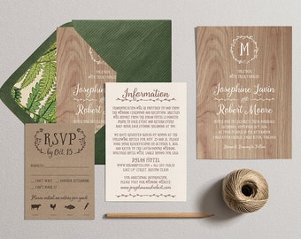 Wedding Invitation Set,Printable Country Wedding Invitation Suite,Rustic Invite Theme,Wooden Digital DIY Printable Wedding,Wood Kraft Design