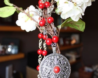 Red and Antique Silver Necklace and Earrings