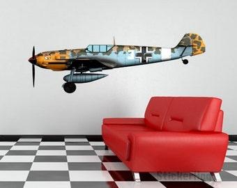 """World War 2 Airplane Messerschmidt Bf-109 Wall Decal Vinyl Aviation Sticker 40""""x15"""" Home Decor"""