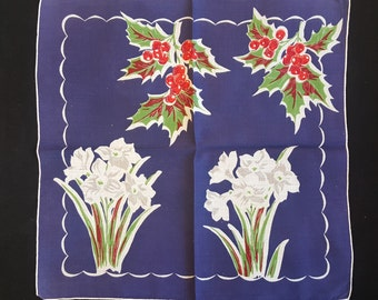 Vintage Blue Floral Handkerchief - Holly Berries and White Daffodils