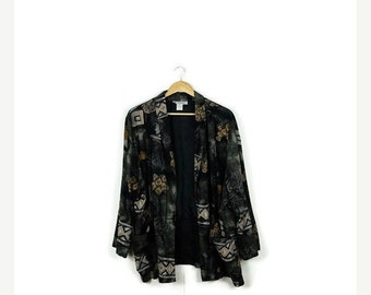 STORE WIDE SALE Vintage Oversized Black x Abstract/Floral Rayon Slouchy Blazer Cardigan from 80's*