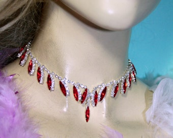 Red Rhinestone Choker Necklace Earring Set Austrian Crystal Prom Bridal Jewelry