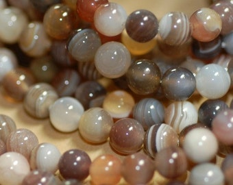 Natural Agate, 6 mm agate, Smooth round Agate. Agate, Mixed gray earth tone agate, Natural color- 16 inch per strand.