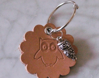 "Key fob ""OWL"", crafted from leather"