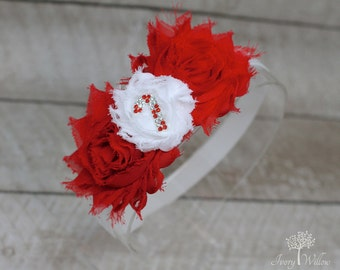 Candy Cane Headband - Christmas Headband - Red and White Headband - Baby Headband - Adult Headband