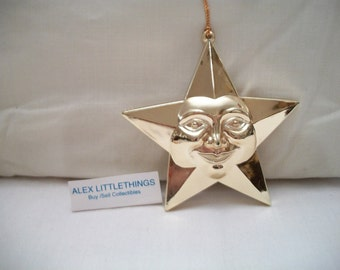 Gold Star Face Christmas Ornament Celestial Holiday Home Decor