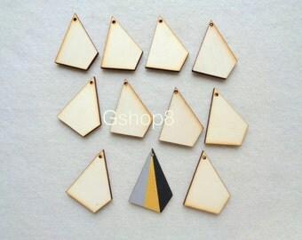 10 Polygon Pendants, Wood Geometric Tile for Jewelry, Geometric Jewelry,Wood Pendants 4mm,