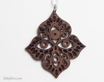 Eye Necklace - Wood - Consciousness Jewelry - Awareness - Laser Cut