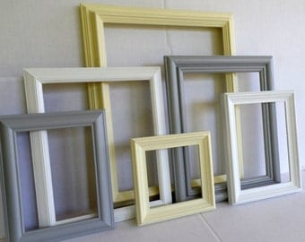 Yellow Gray And White Pastels Picture Frame Collection - Gallery Wall Set Of 6 - Cottage Chic - Wedding - Baby Girl Or Boy Child - Nursery