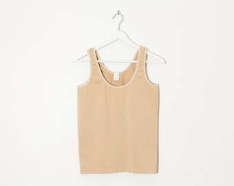on sale - beige stretchy underwear tank top / fitted sleeveless top / size L