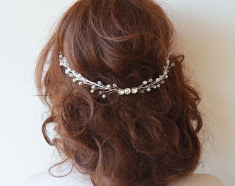 Wedding headband, Bridal Head Piece, Crystal and Pearl Hair headband, Wedding Hair Accessory, Bridal Hair Accessory