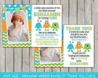 Little Monster Birthday Invitation Or Thank You Card ANY Age Monsters Invite Printable - Digital File