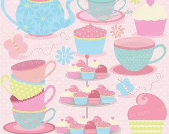 80% OFF SALE tea party clipart commercial use, vector graphics, digital clip art, digital images  - CL512