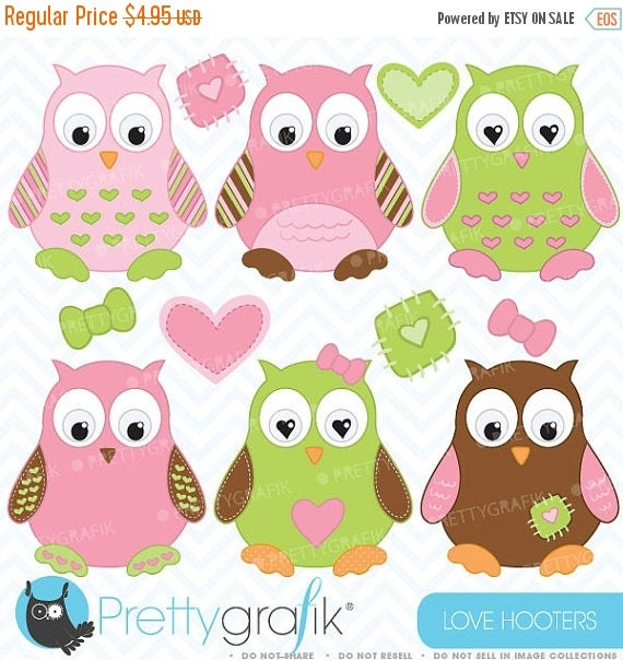 80% OFF SALE Owl clipart commercial use by Prettygrafikdesign