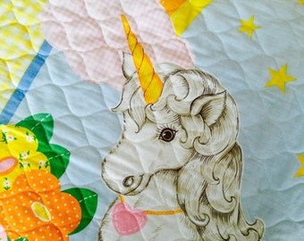 Vintage 1980s Unicorn/Rainbow Floral Quilted Fabric Panel/Wall Hanging Kawaii