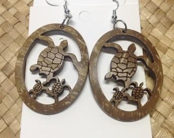 Polynesian Style Medium Carved Coconut Shell Earrings..