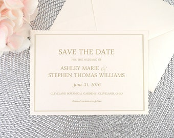 Save the Date, Card, Invitation, Wedding Announcement, Ivory Shimmer, Gold, Modern, Script, Calligraphy, Simple, SIMPLY ROMANTIC Design