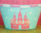 Castle theme, Toy Storage Basket, Oval Tub, Easter Basket, Birthday Party Snack Tub, Baby Shower or Bridal Shower Gift