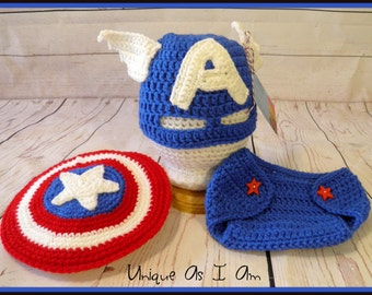 Crochet Baby Captain America Inspired Mask, Diaper Cover and Shield/Photo Prop