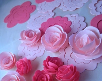 Set of 24 dark and light pink roses 3D die cuts, two measurementes, ideal for decoration, party, scrapbooking artwork