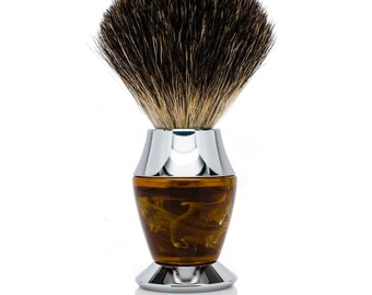 Black Badger Bristle Faux Horn Handle Shaving Brush - Personalized - Brush Stand Included -Perfect gift for men for christmas or fathers day