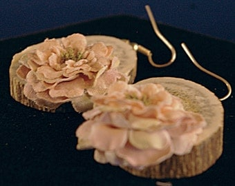Large Antler with Paper Flower Earrings