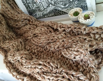 Chunky Cable Knit Throw Rug