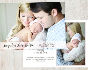Hello Baby Birth Announcement, Double-sided