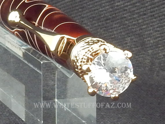 Chocolate Brown Twist Pen, Adorned with Swarovski Crystal and Finished in 24k Gold