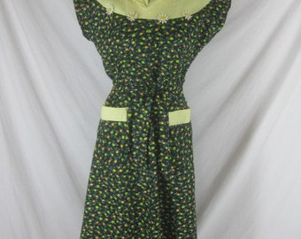 RESERVED 40s 50s J N Adam & Co. NWT Dead Stock Floral Daises Cotton NOS Wrap Dress W 36