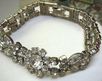 Summer Sale...Vintage Rhinestone Bracelet...Double Strand....Flower Center...Prong Set Rhinestones...Vintage Clasp