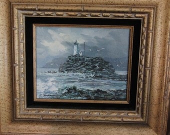 Original oil painting of a lighthouse by K. Thompson
