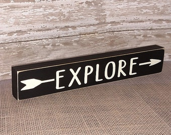 Explore Wooden Sign - Shelf Sitter - 21 Colors to Choose From