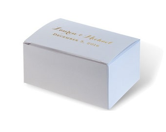 Wedding Favor/ Cake Box with Personalized Foil Imprint of Names + Wedding Date {lots of foil colors!}