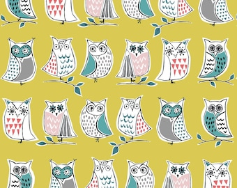 Organic Knit Fabric Anya Hootenanny Monaluna Owls Teal Blue Red