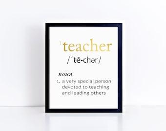 TEACHER Definition FOIL Typography Art Print - Foil Prints, Decor & Gift Prints,  8x10