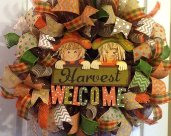 Fall Wreath/ Thanksgiving Wreath/ Harvest Welcome/ Fall Mesh Wreath