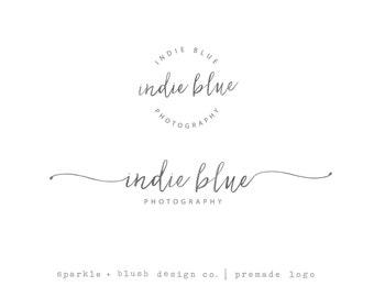 Premade Photography Blogger Logo - Simple Pretty Cursive Photographer Branding Duo Handwritten Style Script Lowercase Watermark (e766)