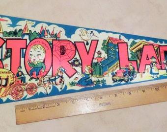 Vintage Storyland, Glen, NH, Souvenir Multi-Color Felt Pennant, Ca. 1970, by IMPKO