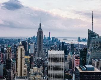 New York Photography - Manhattan Skyline at Dusk, NYC Print, Empire State Building, Big Apple, New York Photo, Sunset, fine art, 8x12 photo