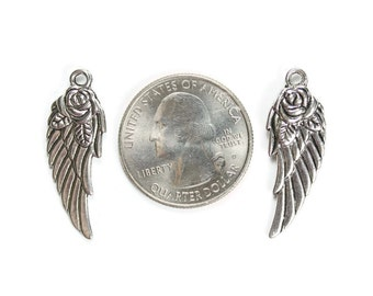 6 Antique Silver Rose Angel Wing Charms
