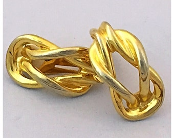 Vintage Paolo Gold Knot Clip on Earrings, Large Gold Tone Earrings by Paolo