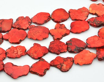 16 inch  Flat  Stone  Red  Turquoise Chips   Beads