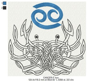 """Zodiac sign Cancer machine embroidery design 4"""", 5"""", 6"""" hoop. All formats. Instant download."""