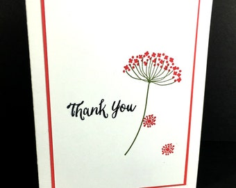 Thank You Card | Customer Appreciation | Handstamped With Envelope | Single Flower