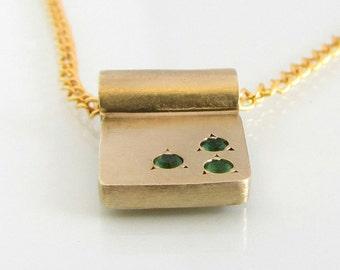Dainty gold necklace, 14k gold necklace, delicate gold necklace, emerald gold, minimalist gold necklace, unique gold pendant, tiny necklace