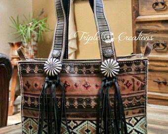 Aztec Print Leather Shoulder Bag